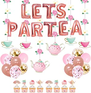 JOPARY Tea Party Decorations with LET'S PAR TEA Aluminum Foil Balloons Floral Tea Party Hanging Decorations Latex Balloons and Teapots Teacups Cupcake Toppers for Lets Par-Tea Party Decor