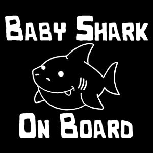 Baby Shark On Board Decal, Baby Shark Family Sticker, Mommy Shark Doo Doo Doo Decal (H 5 by L 6 Inches, White)