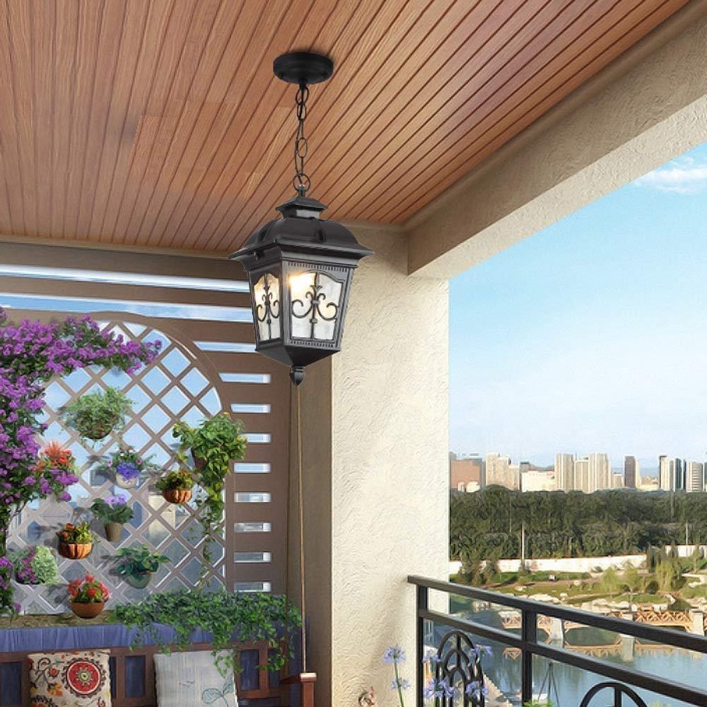 HviLit IP54 Impermeable Impermeable L/ámpara colgante de techo al aire libre Linterna de vidrio Victoria Europea L/ámpara de metal de aluminio Iluminaci/ón Villa Patio Pasillo Porche Pabell/ón Luz de cade