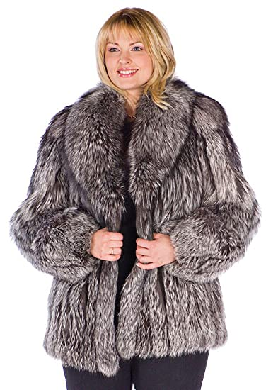 ea91669c9 Madison Avenue Mall Real Silver Fox Fur Jacket For Women Plus Size-Shawl 29-