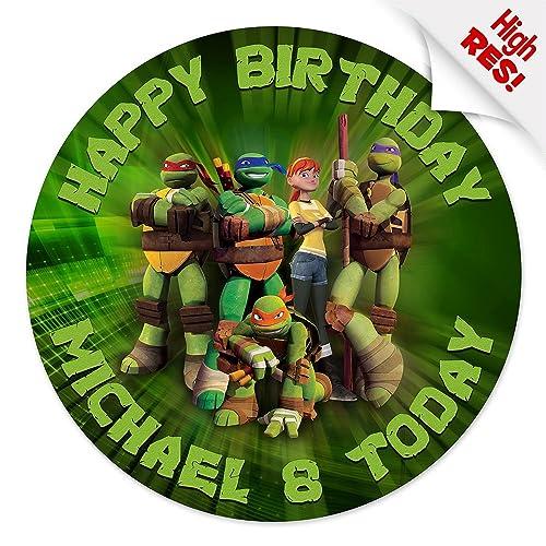 """Teenage Mutant Ninja Turtles 7.5/"""" Personalised Cake Topper Edible Wafer Paper"""