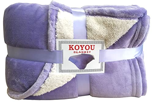 Super Soft Royal Purple Borrego Blanket Throw Queen or Full Size Bed