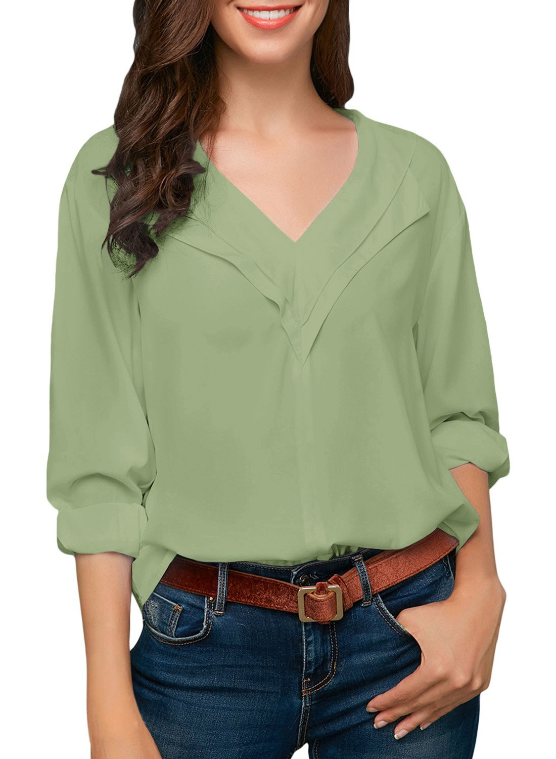 Sidefeel Women Casual Roll Sleeve V Neck Chiffion Blouse Tops Small Green by Sidefeel