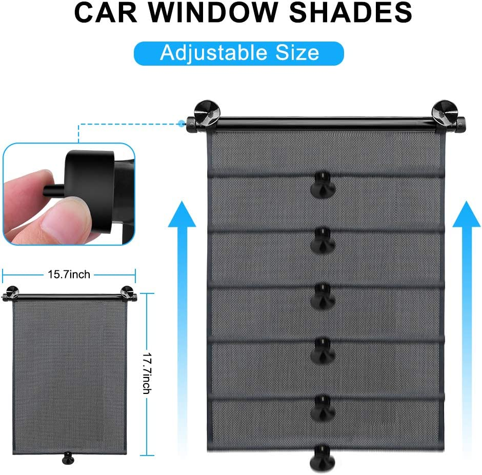 Car Roller Sunshade Protect Baby // Kids // Pets and Passengers in the Back Seat from Harmful UV Rays and Heat 2PCS Retractable Car Window Shade for Side Window Blocks Harmful Sun Glare and Heat
