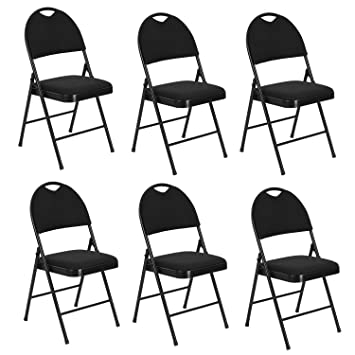 Fanilife Folding Chairs Set of 6 Metal Folding Dining Chairs With Fabric Seat Retro Office Reception Kitchen Garden Foldable Desk Chairs Black ...  sc 1 st  Amazon.co.uk & Fanilife Folding Chairs Set of 6 Metal Folding Dining Chairs With ...