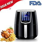Vilapur Electric Air Fryer Oven,2018 New Design Digital Touch Screen Oil Less Low Fat with 8 Bulid-in Cook Setting with 3.4 Liter Basket (4.2QT,Black)