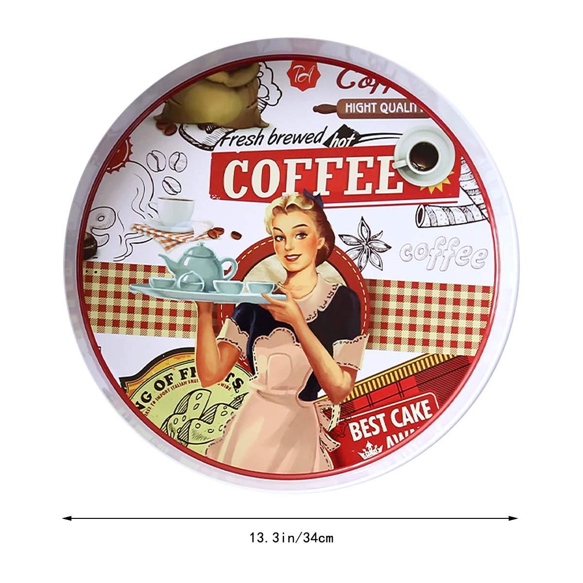 Vosarea 13.39 Pulgadas, Bandeja Redonda para Metal, con Rejilla Blanca, Modelo de Mujer para Utensilios de Cocina, Fiesta, Bar, Uso en Exteriores