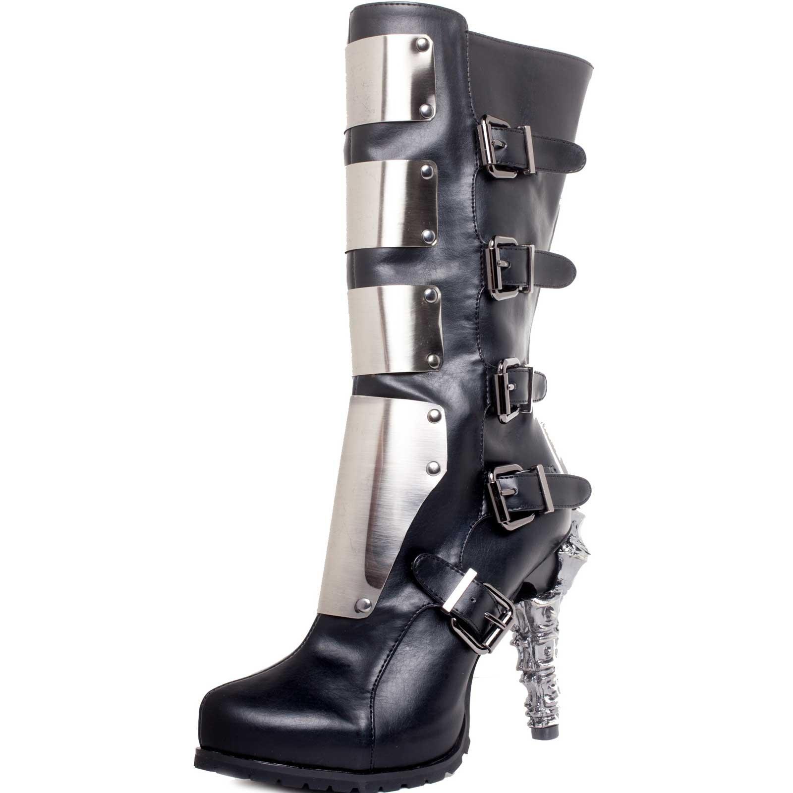 HADES Steampunk Prehistoric Claw Heel Knee High Biker Boot Inner Zip VARGA Black-9