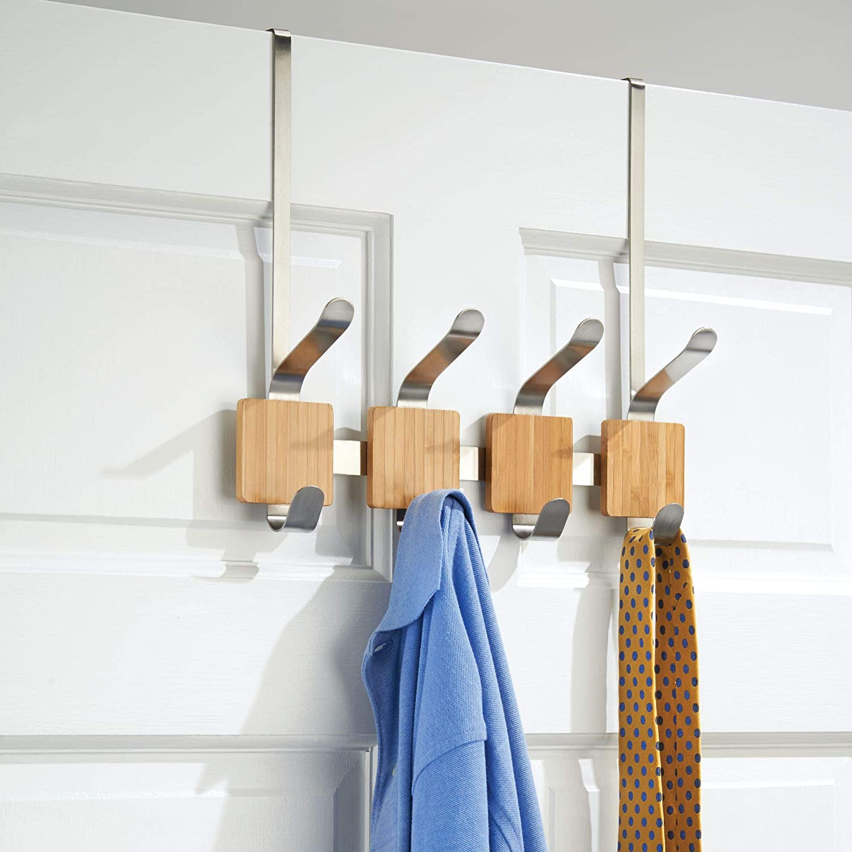 Bamboo//Brushed InterDesign Stainless Steel 4-Hook Formbu Over the Door Rack
