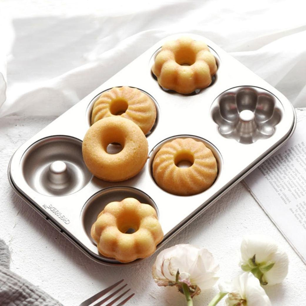Molyveva Nonstick Donut Cookie Bakeware Mold Carbon Steel Cake Fluted Baking Pan Tool ,26.5*18.5*2.2cm Old Tree Store