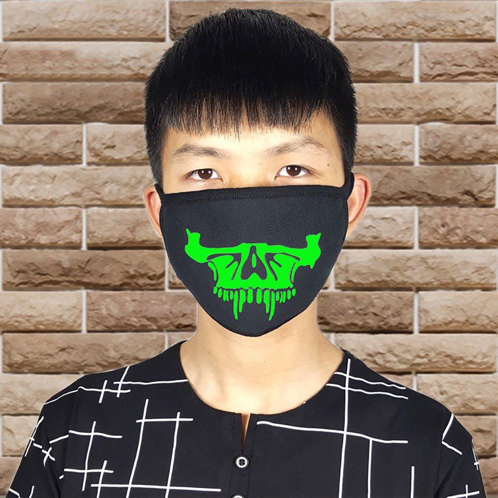 Trenton Halloween Skull Pattern Cool Luminous Unisex Cotton Blend Anti Dust Face Mouth Mask for Man Woman by TRENTON (Image #7)