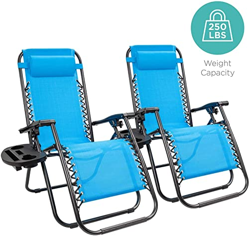 cock1 Folding Zero Gravity Chairs Patio Set of 2 with Pillow and Cup Holder Patio Furniture Outdoor Adjustable Dining Recliner Lounge Chairs for Deck Patio Beach Yard Light Blue