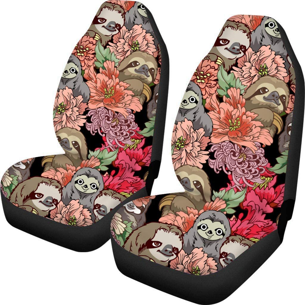 Fit for Most Cars SUV Van Trucks Seat Belt Pads UNICEU Decorative White Daisy Floral Print Design 5 Pcs Set Universal Car Seat Covers with Steering Wheel Cover
