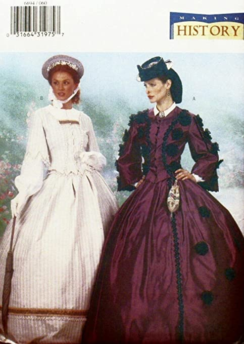 Victorian Sewing Patterns- Dress, Blouse, Hat, Coat, Mens BUTTERICK 6694 MAKING HISTORY CIVIL WAR ERA TOPS & SKIRTS SEWING PATTERN MISSES SIZES: 6-8-10 $29.95 AT vintagedancer.com