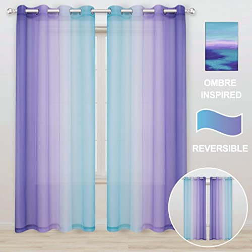 WONTEX Faux Linen 2 Tone Ombre Sheer Curtains for Bedroom Living Room, 52 x 108 Inch Long, Purple and Green Light Filtering Privacy Grommet Semi Sheer Voile, Gradient Curtain, Set of 2 Panels