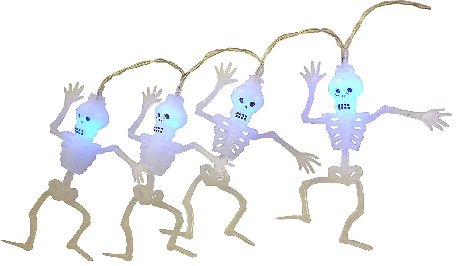 Christmas Concepts® 20 Halloween Skeleton Lights With Blue LED Lights - 1.8m Length - Halloween Lights - Battery Operated