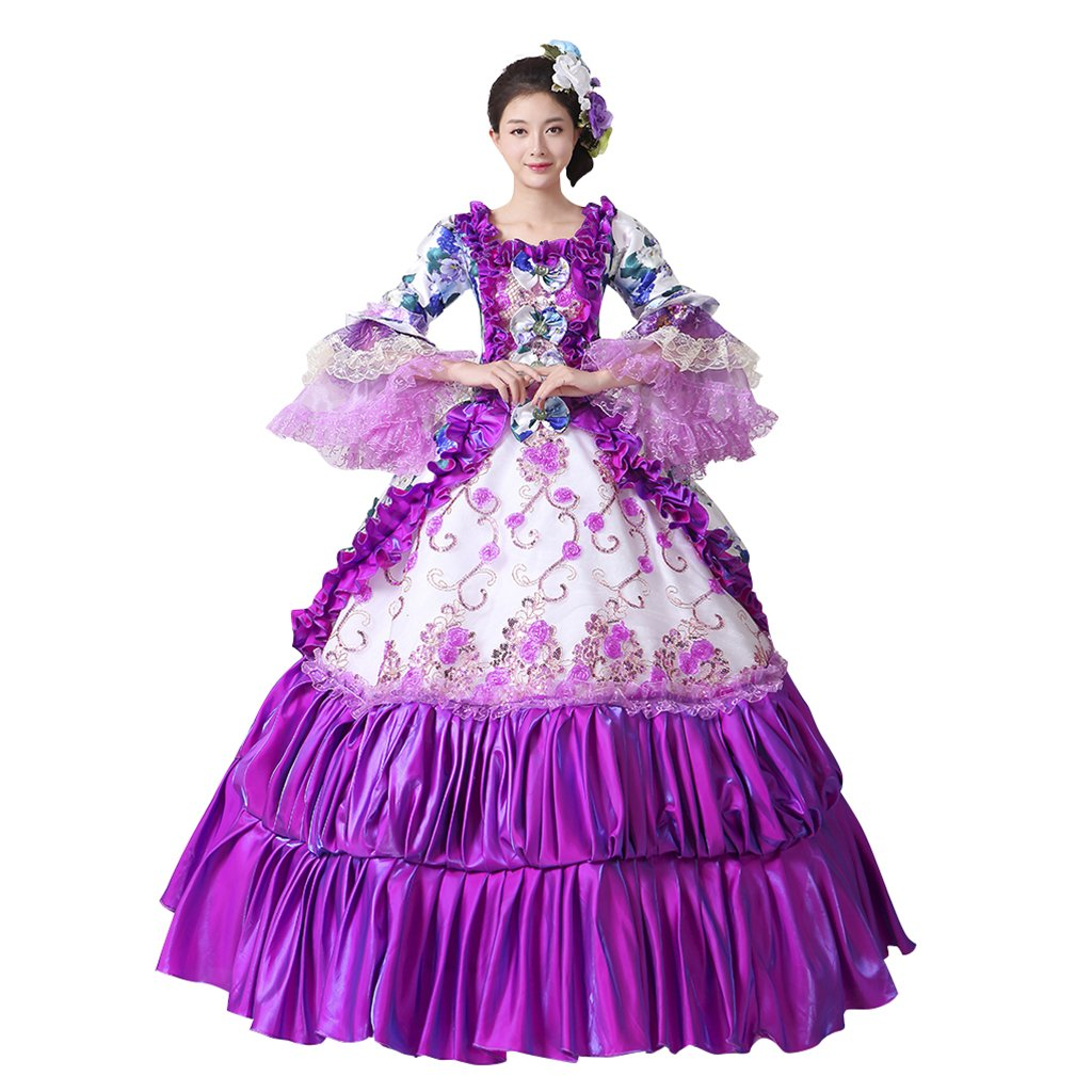 Masquerade Ball Clothing: Masks, Gowns, Tuxedos 1791s lady Womens Flower Dresses Gothic Ball Gown Dresses $119.90 AT vintagedancer.com