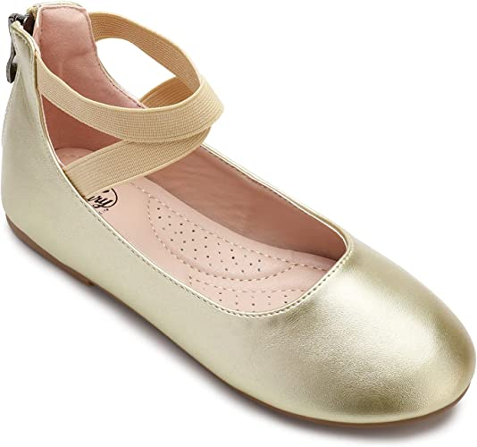 Cute Girl/'s Dress Shoes Ballet Flat Toddler size Ankle Wrap