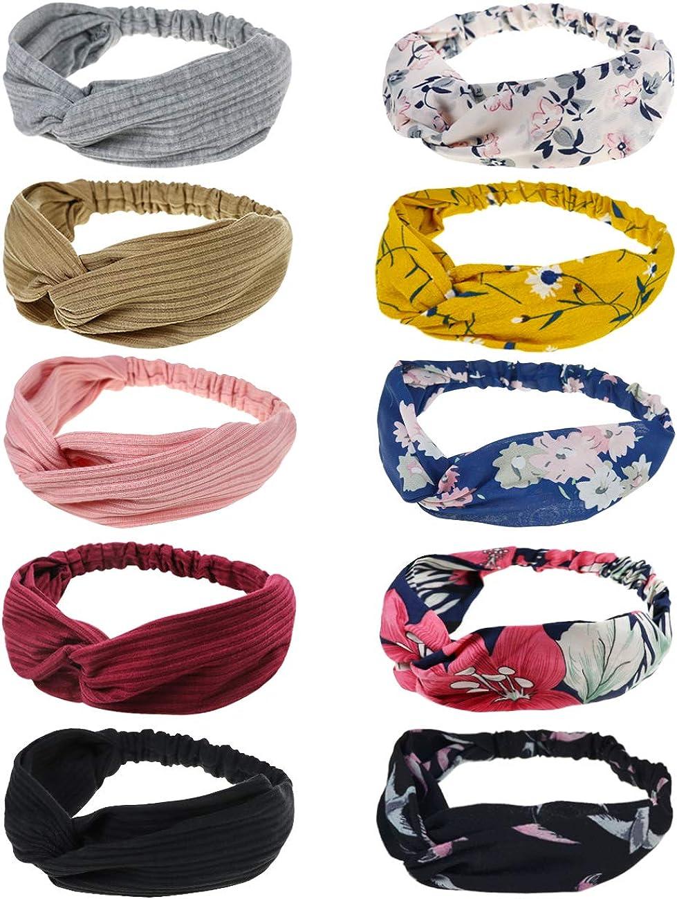 DRESHOW 10 PCS Boho Diademas para Mujeres Flor Vintage Impreso Criss Cross Anudado Elástico Banda para el Cabello Stretchy Head Wrap Twisted Accesorios