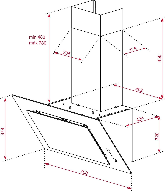 Teka | Campana decorativa vertical de aspiración perimetral de 70cm | DVT  78660 TBS BK | Tres velocidades | Color negro: Amazon.es: Grandes  electrodomésticos