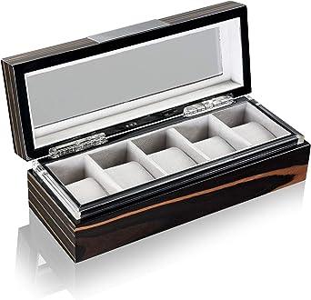 Estuche para relojes automáticos Heisse & Söhne Executive 5 Relojero negro Caja para relojes de lujo: Amazon.es: Relojes