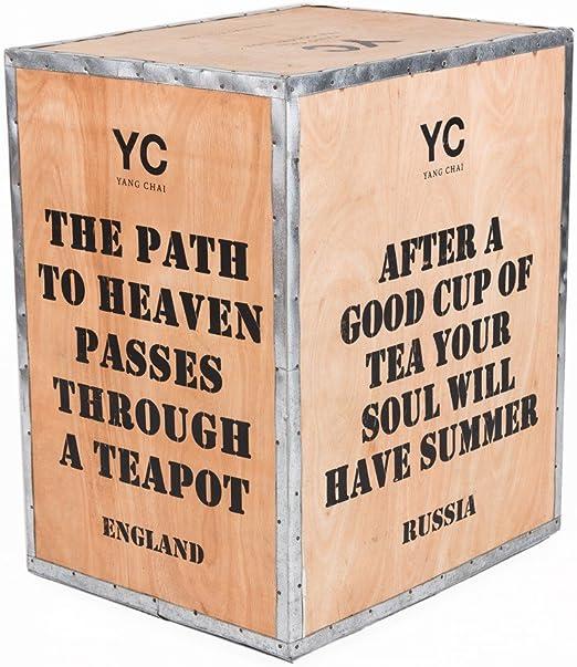 Original Caja de té de madera india – Caja de té – Vintage Teebox Caja para té importado – Tamaño 60 x 50 x 40: Amazon.es: Hogar