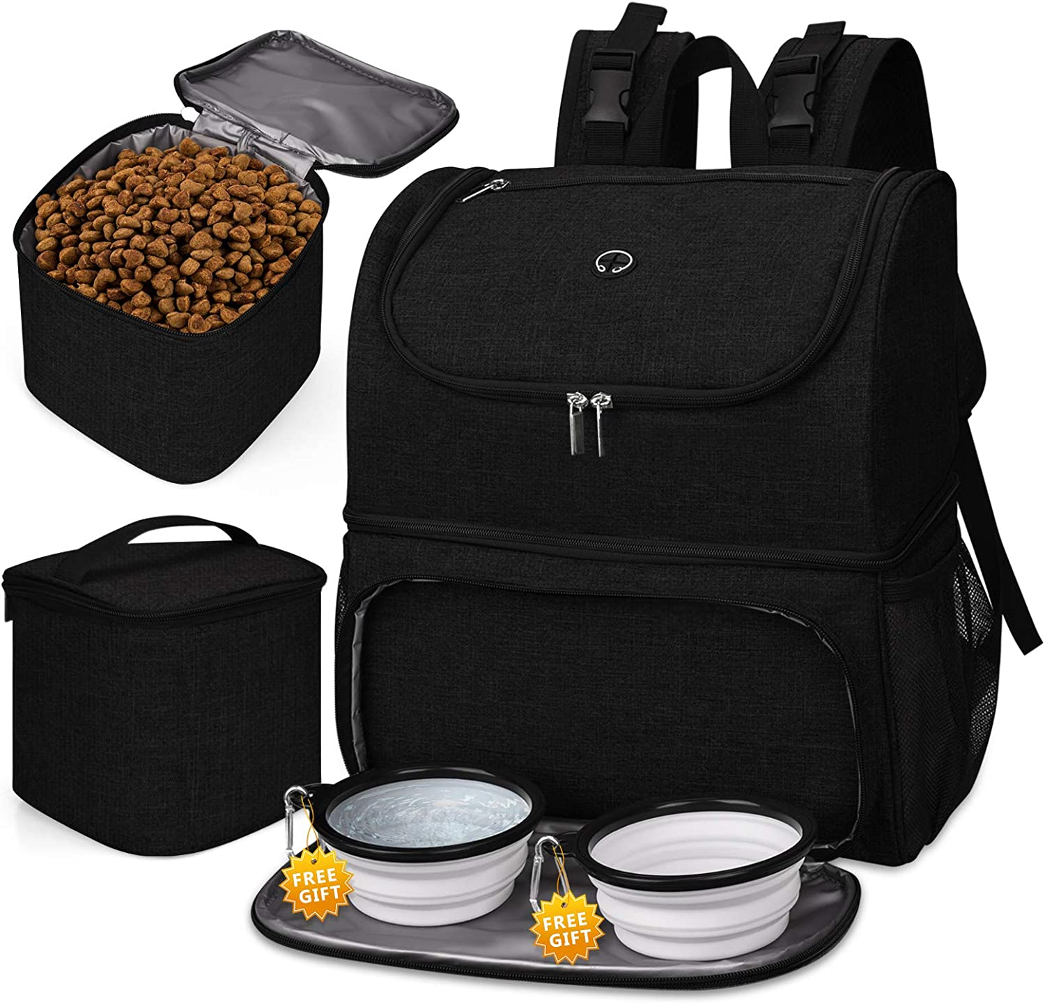 BAGLHER 丨Pet Travel Bag, Double-Layer Pet Supplies Backpack (for All Pet Travel Supplies), Pet Travel Backpack with 2 Silicone Collapsible Bowls and 2 Food Baskets. (Patent Pending)