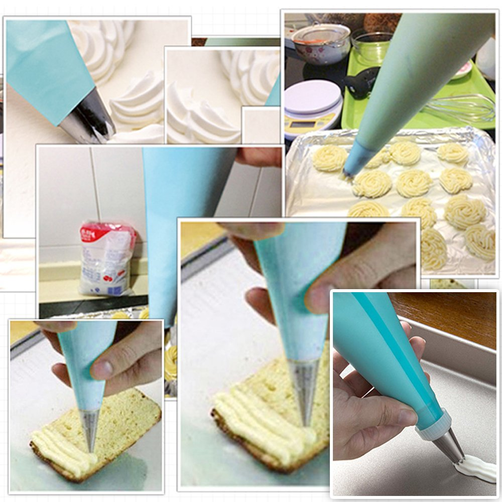 Silicone Pastry Bags, Weetiee 3 Sizes Reusable Icing Piping Bags Baking Cookie Cake Decorating Bags (12''+14''+16'')- 6 Pack - Bonus 6 Icing Couplers Fit to Wilton Standard Size Tips by Weetiee (Image #8)