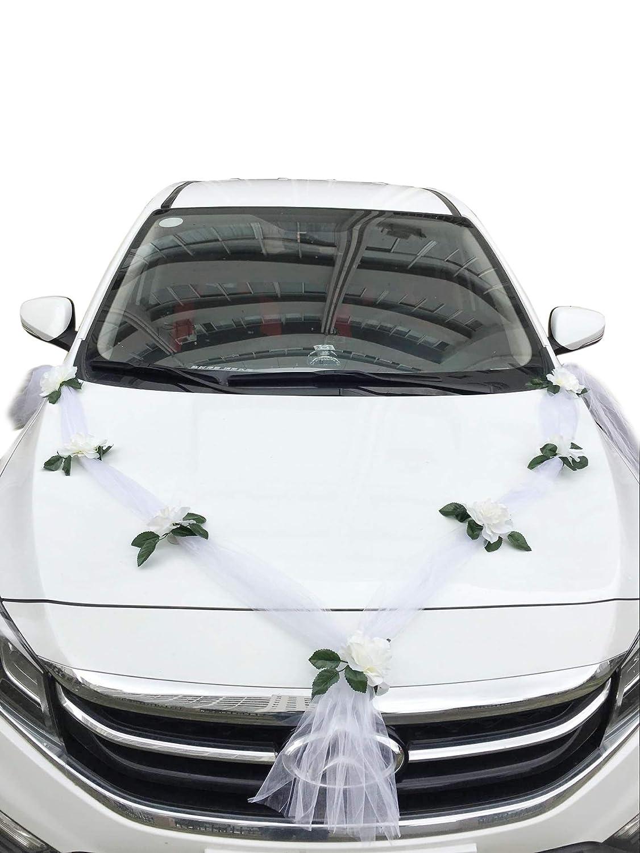 Besnail 2 x Organza Girlande 3.6m Schmuck Braut Paar Rose Deko Dekoration Hochzeit Car Auto Wedding Deko Girlande PKW (Reinweiß /Weiß )