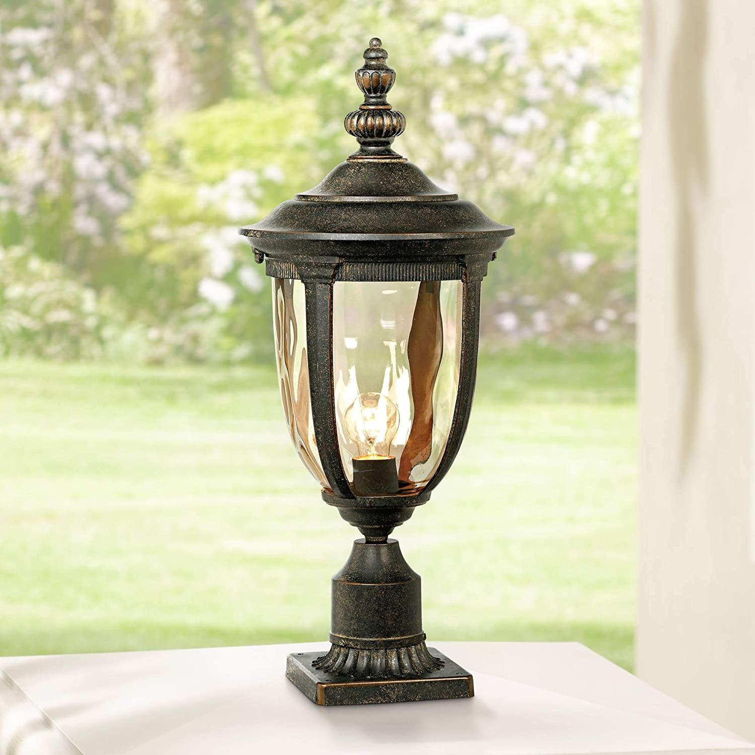 Bellagio vintage outdoor post light bronze 25 inch tall fixture with pier mount for deck patio entryway john timberland amazon com