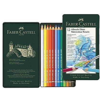 Faber-Castell 117512 - Estuche de metal con 12 ecolápices acuarelables, multicolor