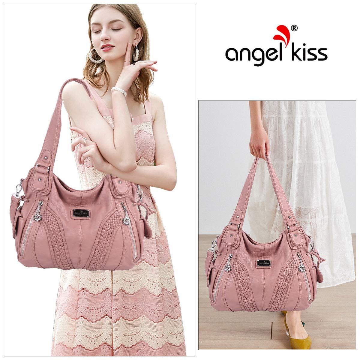 angel kiss Hobo Tasche Schultertaschen Handtaschen Umhängetaschen Henkeltaschen Fredsbruder Taschen Damen Weiches Leder Violett 1555-rosa