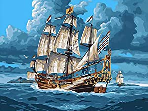 Paint by Numbers for Adults Landscape, DIY Oil Painting Sailing Ship Fishing Boat Ocean Pirate Sail Sea Acrylic Paint by Number Kits for Kids Adults Beginner for Home Wall Decor 16x20 inch