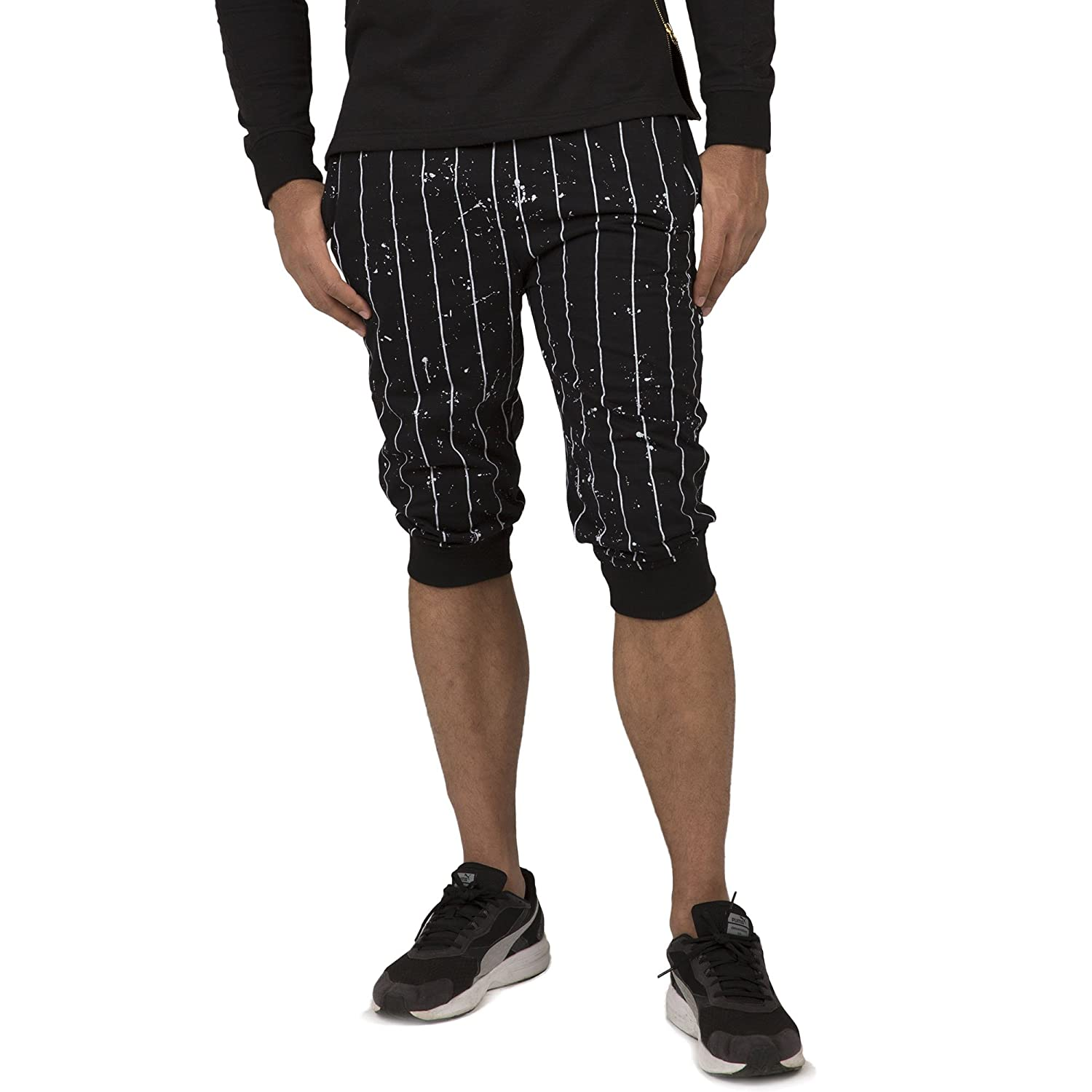 "Vibes Gold Label Men Black Pinstripe Printed Heavy Jersey 18"" Jogger Capri Short"