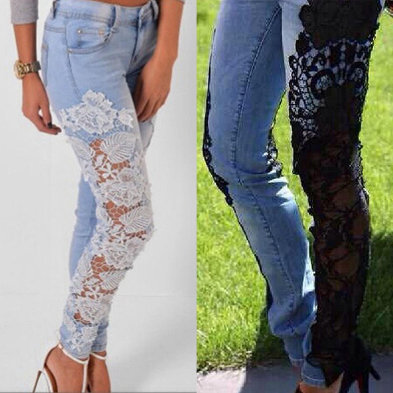 meiqineight Women Lace Patchwork Low Waist Skinny Slim Denim Elastic Pants Jeans