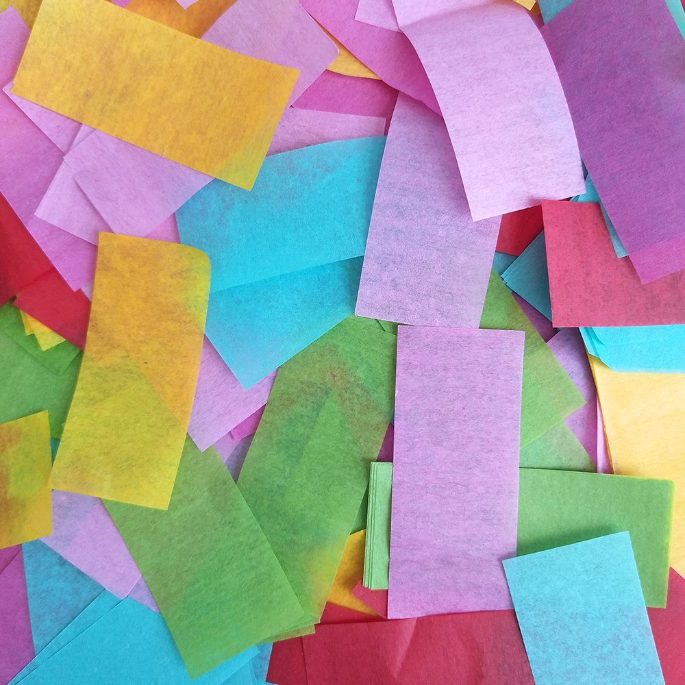 Assorted Color Rectangle Tissue Paper Confetti for Parties Weddings Anniversaries Baby and Bridal Showers