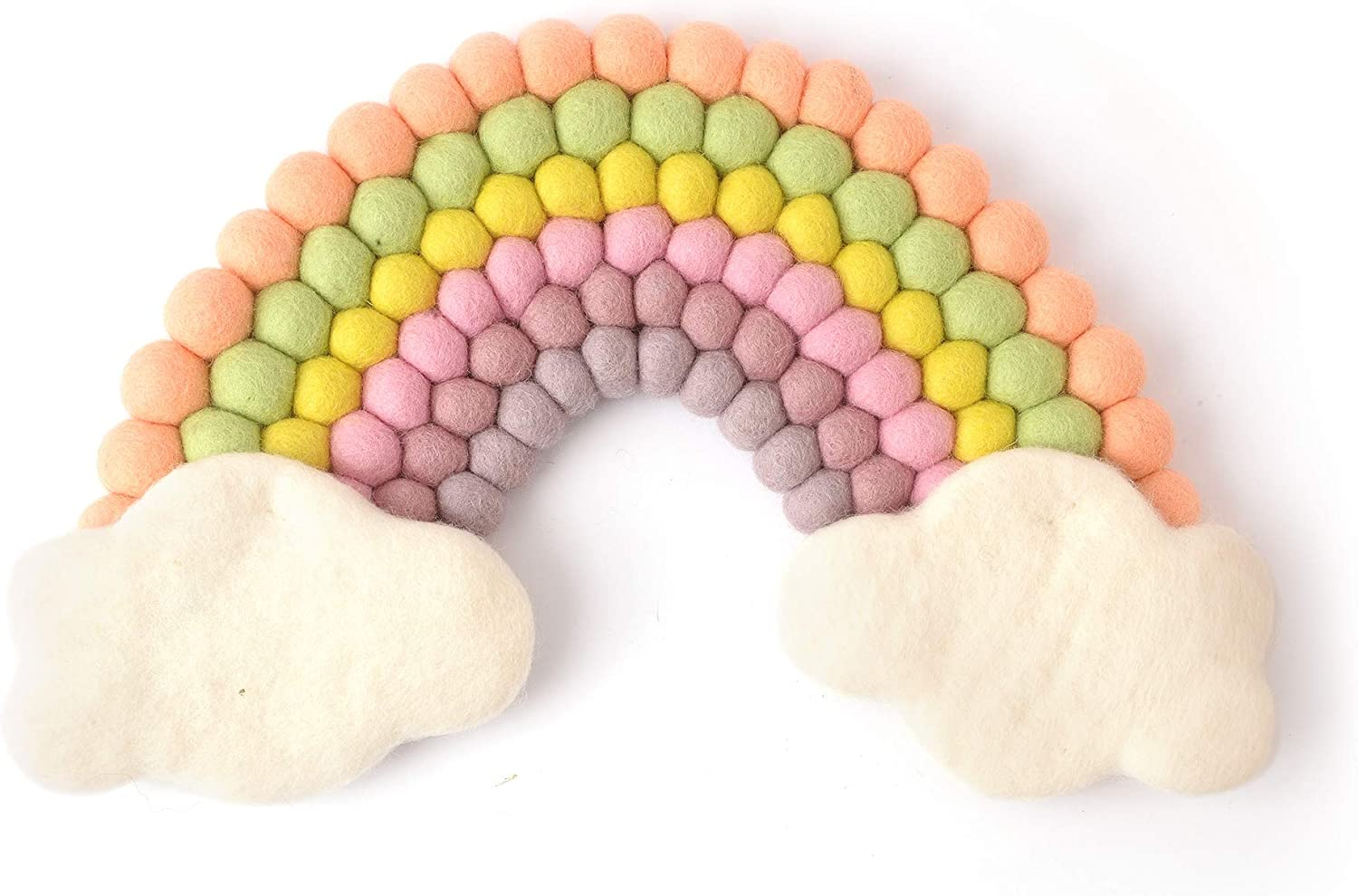 """Glaciart One Rainbow Décor - Handmade Wall Hanging Mobile 16"""" x 10"""" - 100% Pure Australian Wool -Perfect Decoration for Childs Bedroom, Nursery – Girls/Boys - Pom Poms Pastel Wall Art"""