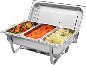 9L1 Three Sets of Dishes 11/3 Stainless Steel Rectangular Buffet Stove - Food Grade Stainless Steel Chafer Food Warmers Chafing Dish for Catering and Party