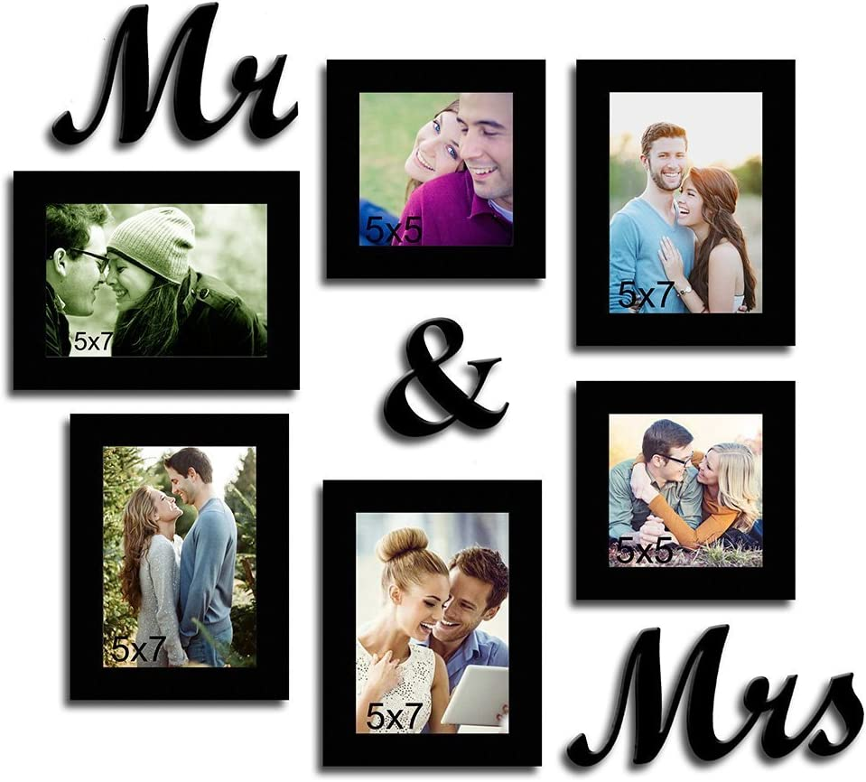 Street Art Together Forever - Set of 6 Individual Wall Photo Frames Mr & Mrs MDF Plaque