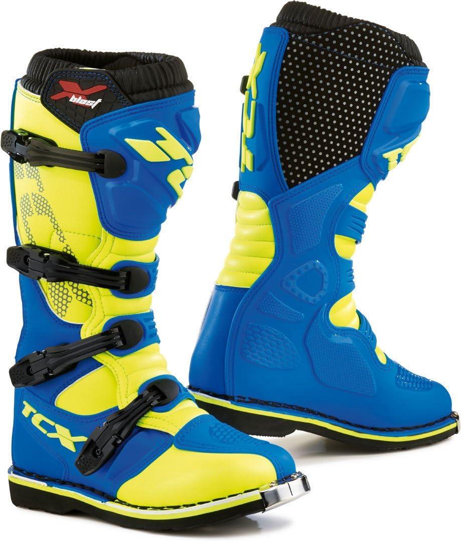 TCX X-Blast Motocross Boots 45 Royal Blue Yellow Fluo UK 10 9670