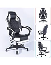 Homy Casa Managerial Executive Racing Ergonomic Backrest and Seat Height Adjustment Computer Chair with Pillows Recliner Swivel Lean Back Chairs (Black-White)