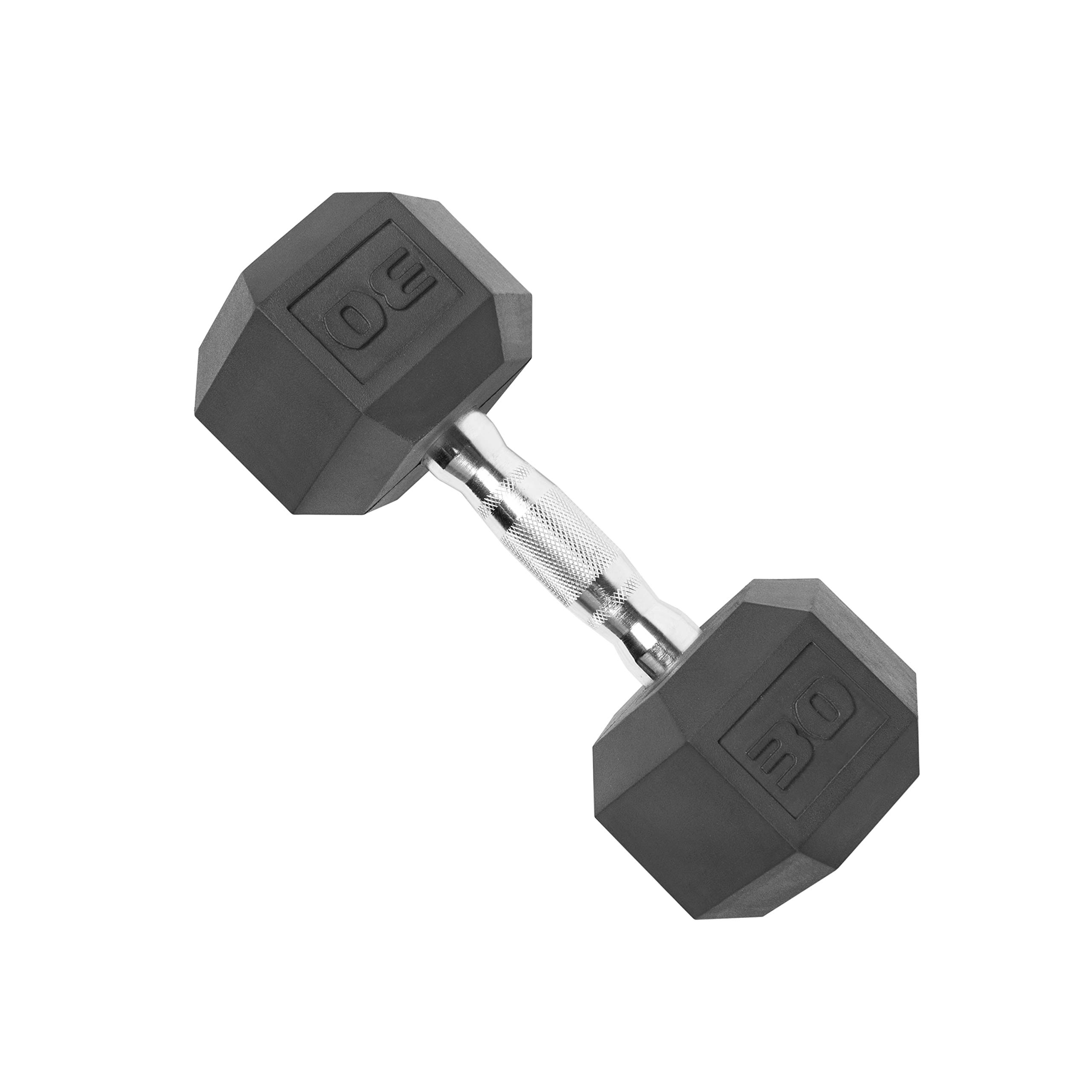 CAP Barbell SDR-030 Rubber Coated Hex Dumbbell with Contoured Chrome Handle (30-Pound), Black
