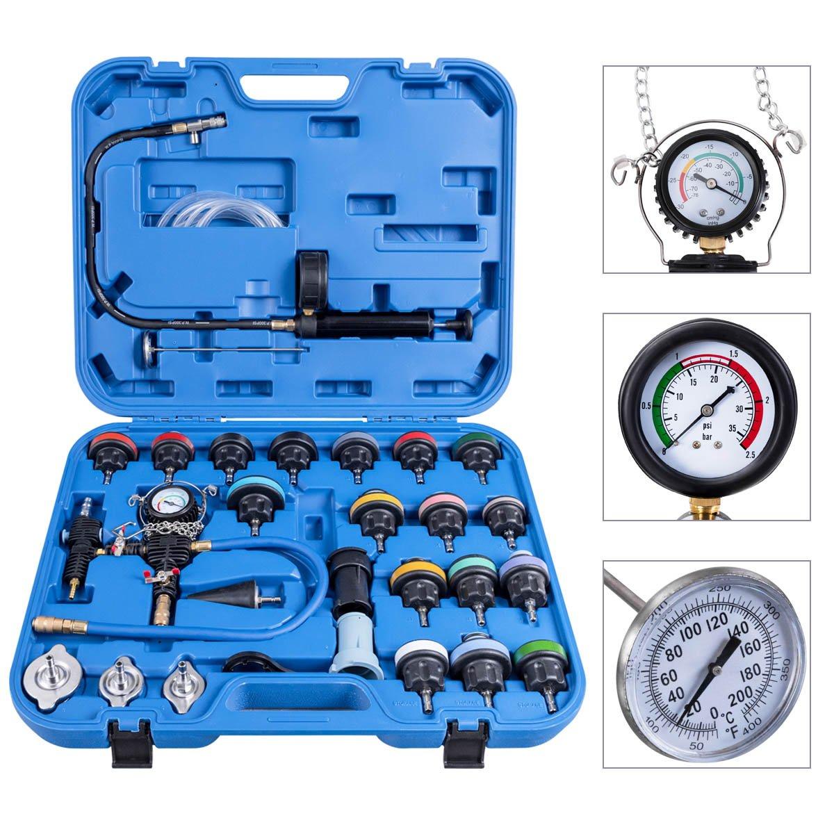 Blitzzauber24 Testeur de pression du circuit de refroidissement 28 Pcs Testeur de pression RadiateurOutil de suppression du test de pression Systè me de refroidissement