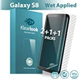 Galaxy S8 Screen Protector[2+1+1 in Pack Not Glass], Klearlook® Galaxy S8 [Wet Applied Series] Bubble Free 2 Pieces Case-Friendly Full Transparent Screen Protector Film + 1 Piece Full coverage Full Transparent Screen Film + 1 Piece Full Coverage Carbon Fibre Back Protector Skin [Lifetime Warranty]