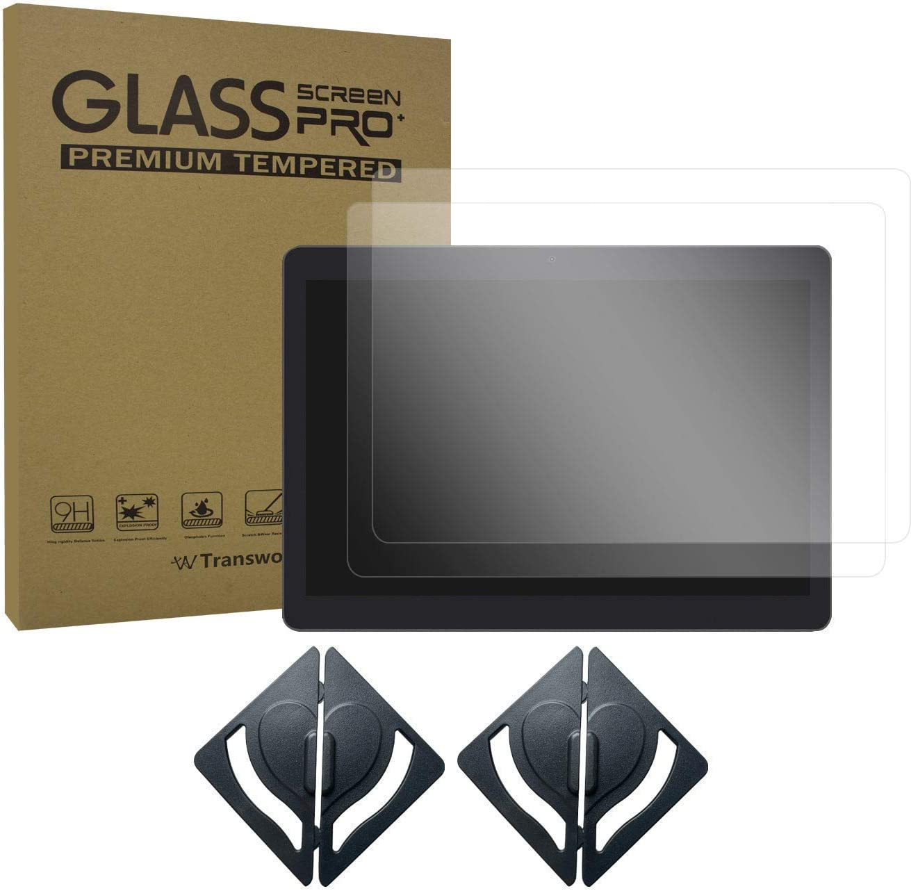 Transwon 2-Pack Tempered Glass Screen Protector & Screen Protector Install Tool Compatible with Yuntab K107/K17, BENEVE 10.1, for Dragon Touch K10 10.1, YELLYOUTH/BEISTA 10.1