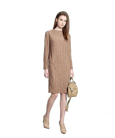 Her Velvet Vase Womens Bottega Pleat Wool Shift Midi Dress At