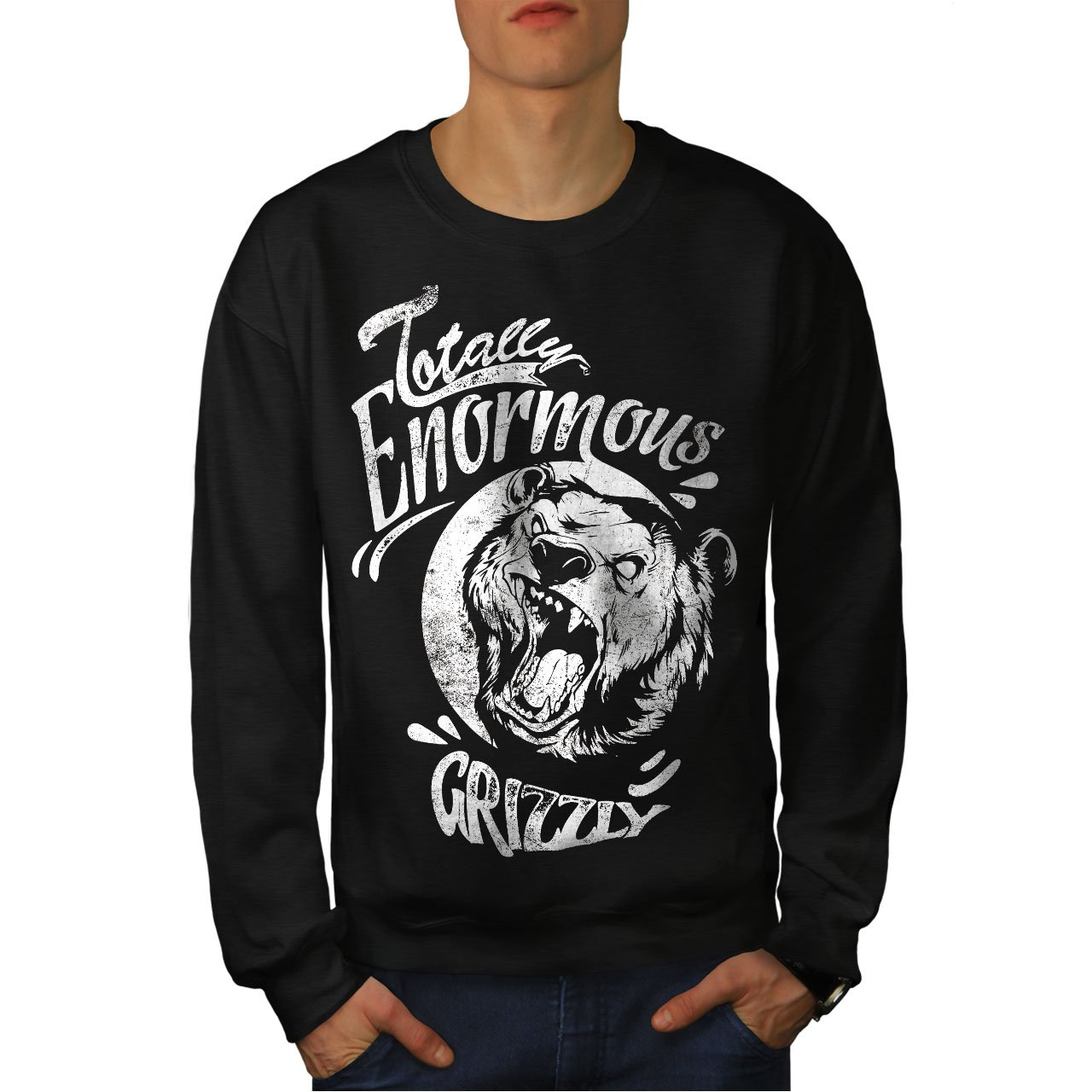 wellcoda Enormous Grizzly Bear Mens Sweatshirt Totally Casual Jumper
