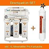 Directquell Umkehrosmose Wasserfilter inkl. XL Mineralkartusche im Set. KEIN TANK NÖTIG!