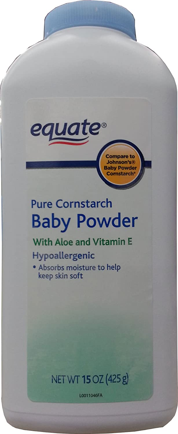 Equate Pure Cornstarch Baby Powder With Aloe and Vitamin E, 15oz USA