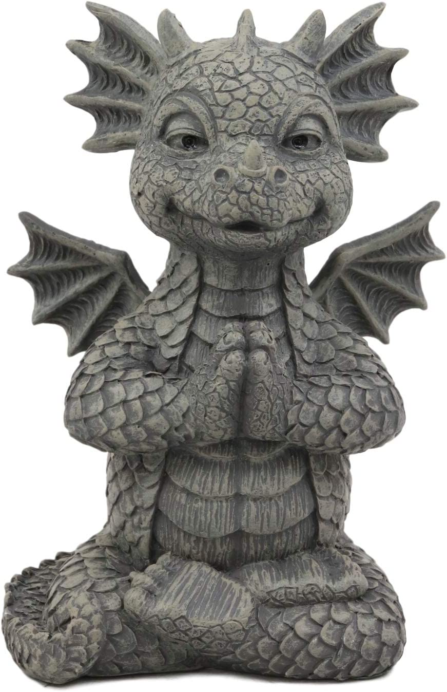 "Ebros Gift Mini Zen Meditating Yoga Namaste Dragon Statue in Faux Stone Resin Finish 5"" Tall Decor Figurine Zen Dragons and Dungeons As Fairy Garden Accessory Decorative Collectible Sculpture"